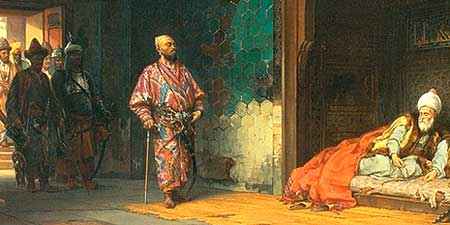 Tamerlane Captures Bayazid (Detail from painting by Stanisław Chlebowski, 1878-88)
